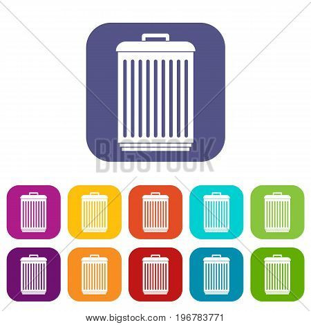 Trashcan icons set vector illustration in flat style in colors red, blue, green, and other