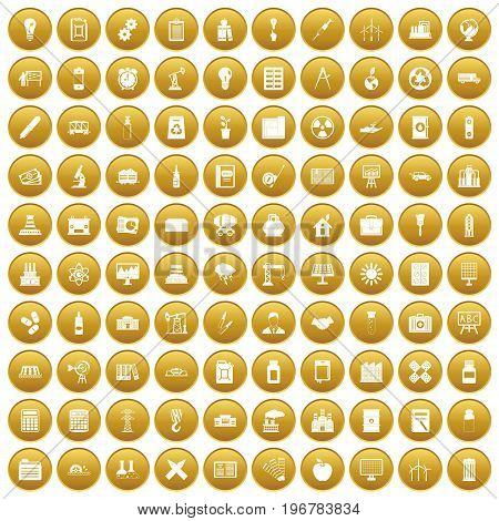 100 company icons set in gold circle isolated on white vector illustration