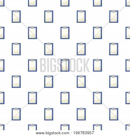 Clipboard with blank white paper pattern seamless repeat in cartoon style vector illustration