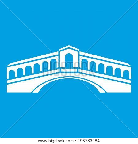 Venice bridge icon white isolated on blue background vector illustration