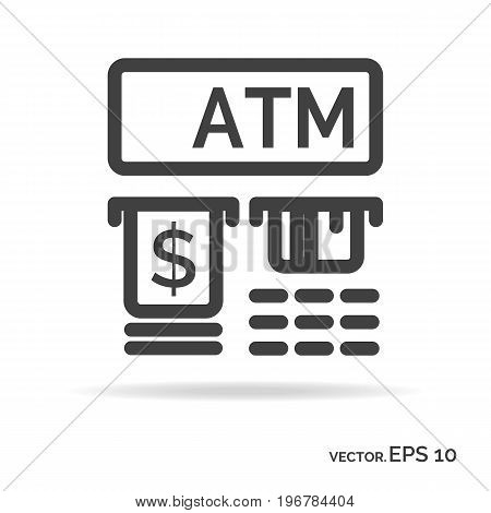 Atm outline icon black color isolated on white background