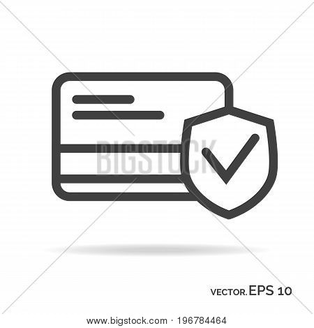 Business card security outline icon black color isolated on white background
