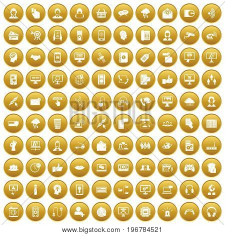 100 contact us icons set in gold circle isolated on white vector illustration