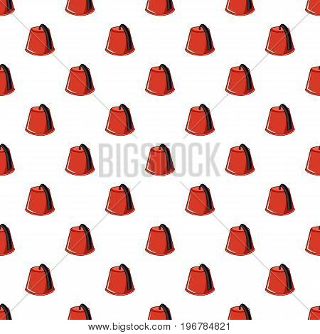 Red Turkish fez pattern seamless repeat in cartoon style vector illustration