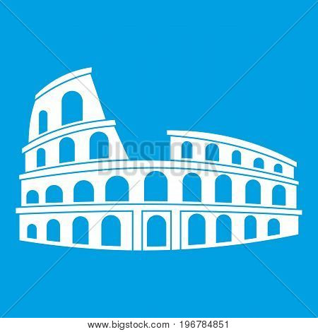 Roman Colosseum icon white isolated on blue background vector illustration