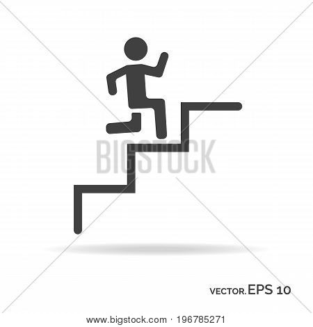 Running down the stairs man outline icon black color isolated on white background