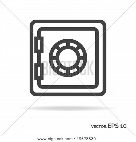 Strongbox outline icon black color isolated on white background