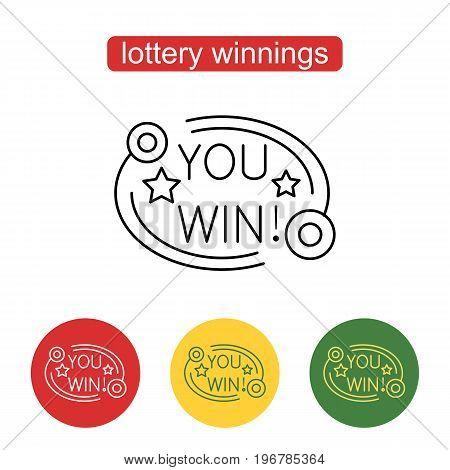 You win banner design. Outline illustration of lottery or casino concept for web design, mobile application. Editable stroke.