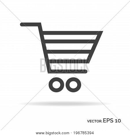 Shopping cart outline icon black color isolated on white background