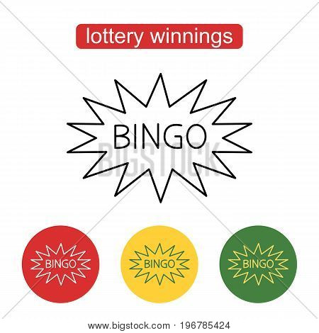 Bingo Sign. Bingo badge illustration. Comic speech bubble.  Outline illustration of lottery or casino concept for web design, mobile application. Editable stroke.