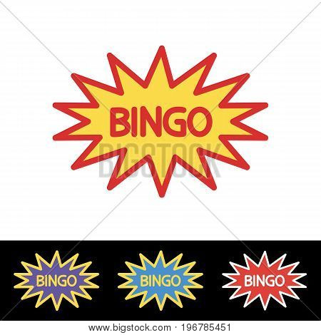 Bingo Sign. Bingo badge illustration. Comic speech bubble. Flat illustration of lottery or casino concept for web design, mobile application. Editable stroke.