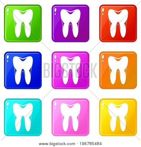 Human tooth icons of 9 color set isolated vector illustration