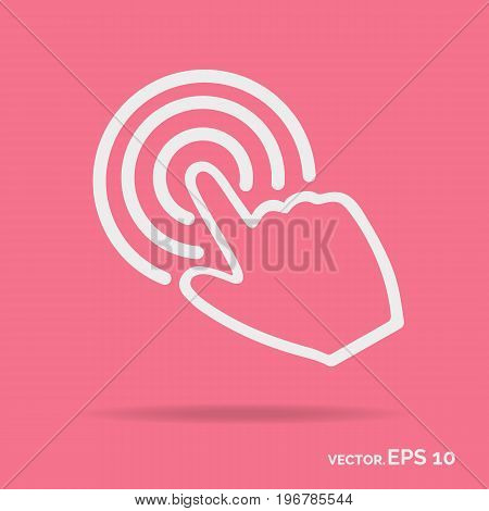 Touch hand outline icon white color isolated on pink background