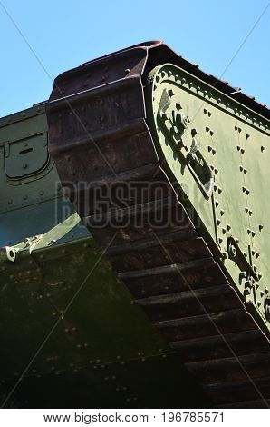 Caterpillars Of The Green British Tank Of The Russian Army Wrangel In Kharkov Against The Blue Sky