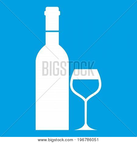 Glass and bottle of wine icon white isolated on blue background vector illustration