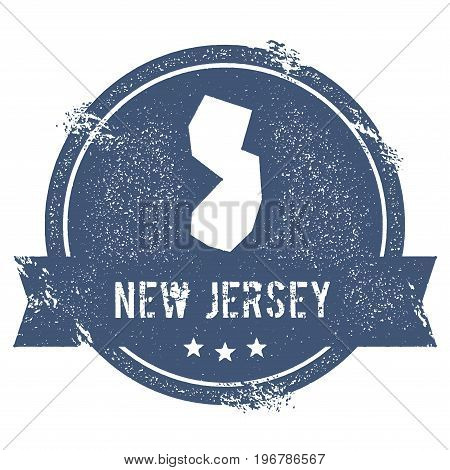 New Jersey Mark. Travel Rubber Stamp With The Name And Map Of New Jersey, Vector Illustration. Can B