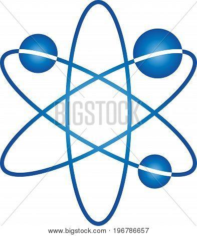 Three globe in motion, molecule or atom logo
