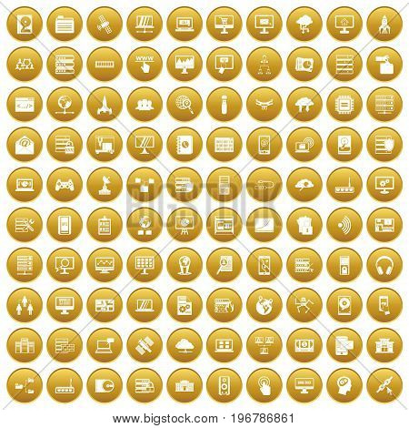 100 database and cloud icons set in gold circle isolated on white vector illustration