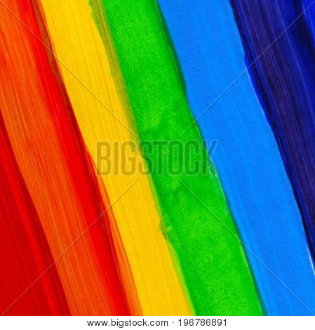 Abstract Acrylic Hand Painted Background. Watercolor Rainbow Flag. Symbol Of Lgbt, Peace And Pride.