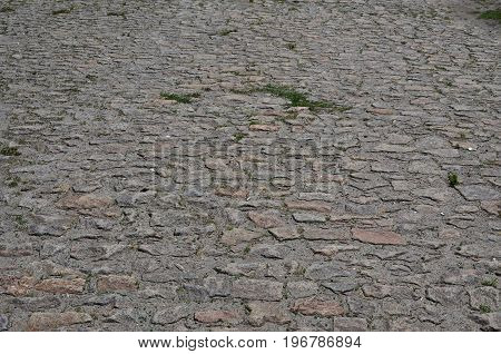 The Texture Is Very Old And Inaccurately Laid Out Pavers Made Of Relief Stones Of Various Shapes