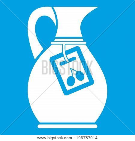 Jug with olive oil icon white isolated on blue background vector illustration