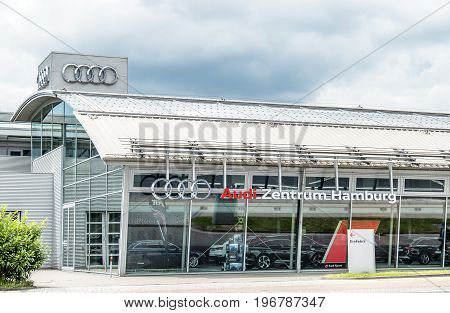BREMEN GERMANY - JULY 15, 2017: The company Audi is selling cars in the city of Hamburg