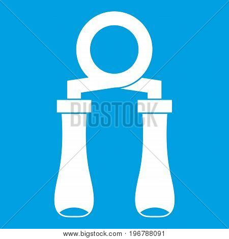 Hand grip trainer icon white isolated on blue background vector illustration poster