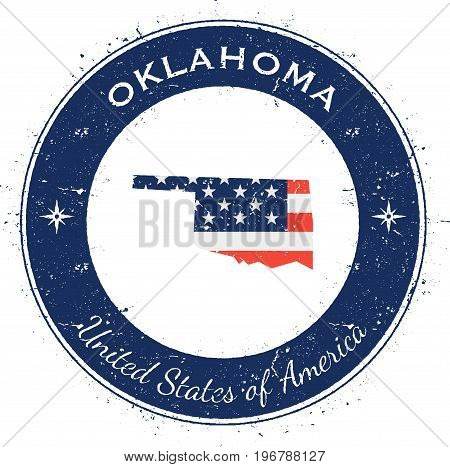 Oklahoma Circular Patriotic Badge. Grunge Rubber Stamp With Usa State Flag, Map And The Oklahoma Wri