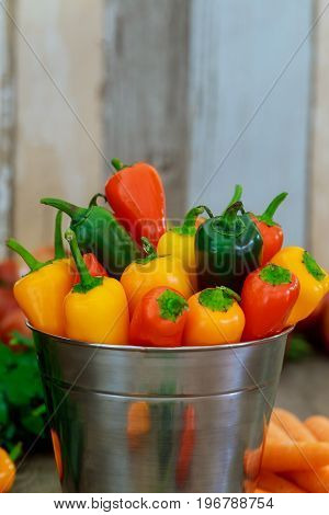 Colorful Mini Sweet Peppers Vintage Metal Pail Wood Background