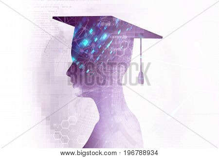 abstract white digital technology backgroundrepresent big data and digital communication technology concept