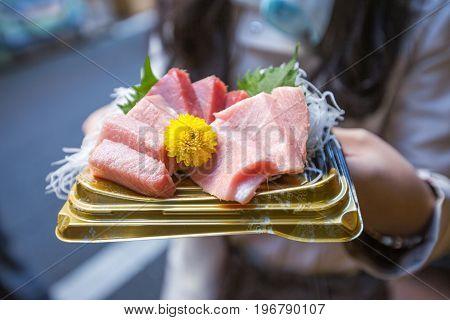 Otoro sashimi or Japanese fresh tuna fish