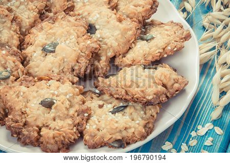 Vintage Photo, Fresh Baked Homemade Oatmeal Cookies, Healthy Dessert Concept