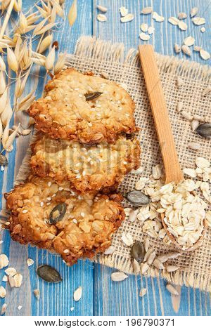 Oatmeal Cookies And Ingredients For Baking, Healthy Dessert Concept