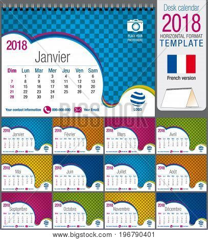 Desk triangle calendar 2018 colorful template. Size: 21 cm x 15 cm. Format A5.  Vector image. French version