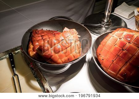 Roasted Ham With Honey Glaze At Meat Carving Station
