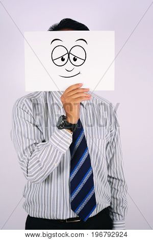 young Businessman Wearing limp Face Mask isolated on white