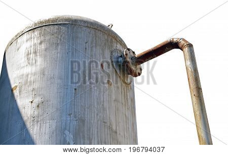 steel industrial wine cistern on white background