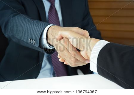 Handshake of businessmen - greeting dealing merger and acquisition concepts