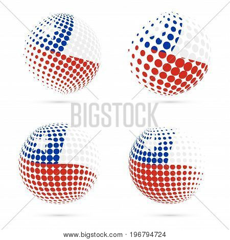 Chile Halftone Flag Set Patriotic Vector Design. 3D Halftone Sphere In Chile National Flag Colors Is