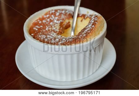 Cheese souffle on table, Close up and Selective focus