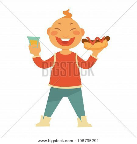 Funny cheerful child with ginger curl on his head holds hotdog with ketchup and sweet soda in transparent cup isolated cartoon vector illustration on white background. Happy kid eats fast food.