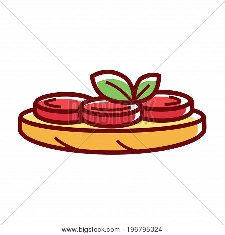 Delicious homemade vegetarian pizza with tomatoes and green herbs isolated on white background. Tasty fast food flat cartoon vector illustration with thick outline. Briefly cooked snack for picnic.