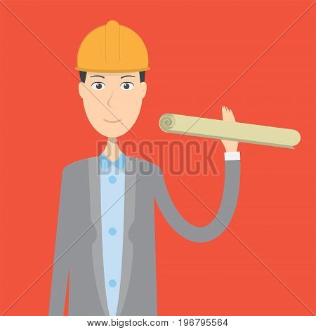 Architect Character Male | set of vector character illustration use for human, profession, business, marketing and much more.The set can be used for several purposes like: websites, print templates, presentation templates, and promotional materials.