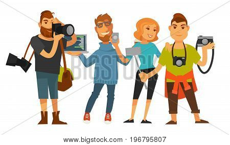 Professions people of photographer reporter or cameraman operator journalist, IT digital specialist and office manager or tourist with smartphone and camera. Vector isolated flat icons set