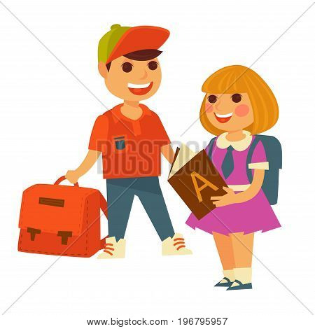 School boy and girl with alphabet lesson book and backpack or rucksack bag. Children going to school vector flat isolated icons