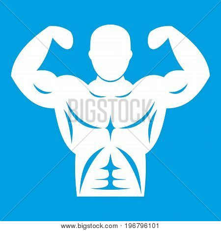 Athletic man torso icon white isolated on blue background vector illustration