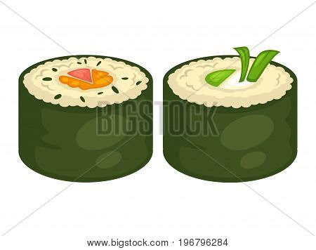 Sushi rolls flat icons for Japanese restaurant or Asian bar menu. Vector sashimi or unagi maki with vegetable, fish caviar, cheese with steamed rice in nori seaweed