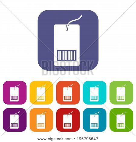 Tag with bar code icons set vector illustration in flat style in colors red, blue, green, and other