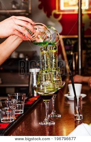 beautiful burning cocktail on the bar. close-up