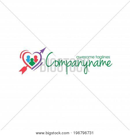 dating logo with Vector figure heart and arrow logo concept